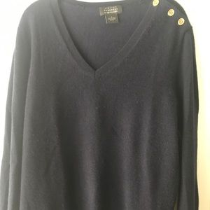 Bloomingdales cashmere sweater, navy, 1X